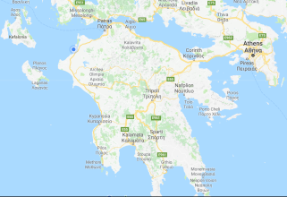 map of the Peloponnese, southern Greece